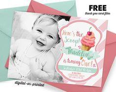 Ice Cream Birthday Invitation, first birthday party invitation, Ice Cream birthday, party invitation printable