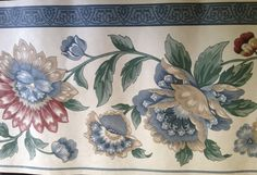 Wallpaper, Border Trim, 5 Yards, Blue Flowers, Wallcovering, Decorative Border, Vintage Country, Cottage Chic, DIY, NIP by annimae182 on Etsy