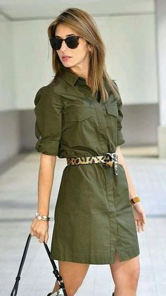 Chemise another trend piece for your fall Green Dress Outfit, Green Shirt Dress, Dress Outfits, The Dress, Fashion Dresses, Jeans Dress, Maxi Dresses, Military Style Shirts, Casual Wear