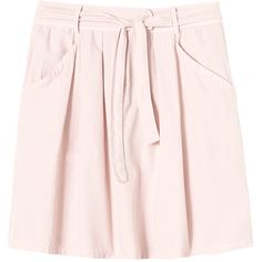 Rebecca Taylor Twill Tie Waist Skirt (€110) ❤ liked on Polyvore featuring skirts, candy pink, tie waist skirt, rebecca taylor skirt, pink skirt, tie belt and pocket skirt