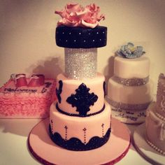 Pink and Black Cake with Silver Crystals