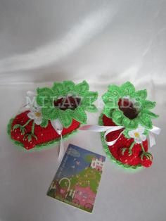 Red Strawberry Booties Crochet Baby Booties Flower by MILAVIKIDS, $24.99