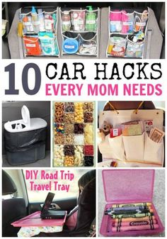 10 CAR HACKS! Brilliant organizing ideas, fun snack ideas, kid-friendly ideas and more. Great for long trip and short drives alike.