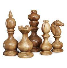 Bernard Modern Carved Wooden Chess Sculptures- Set of 5 #kathykuohome