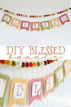 DIY Blessed Banner - The Happy Scraps : Create this cute banner for Thanksgiving with the help of the Cricut Explore! It will be the perfect addition to your other Thanksgiving decor. Thanksgiving Banner, Thanksgiving Projects, Fall Banner, Thanksgiving Decorations, Banner Crafting, Cricut Banner, Diy Banner, Easter Crafts For Kids, Fall Crafts