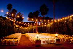 Photo by Michael Segal Weddings  Palm Springs Riviera at night ceremony. Love this wedding we did together!!