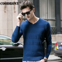 HS High Quality Soft Warm Knitted Merino Woolen Sweater Men 100% Pure Cashmere Sweaters Fashion Striped V-Neck Pullover Men 6307