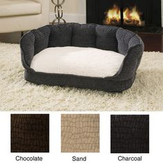 @Overstock - Colors: Sand, chocolate, charcoal  Materials: Polyester  Dimensions: 35 inches long x 24 inches wide x 14 inches highhttp://www.overstock.com/Pet-Supplies/Deluxe-Cuddle-Up-Pet-Bed/6370146/product.html?CID=214117 $53.99