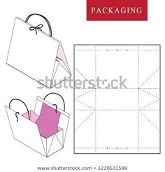 Vector Illustration of handle box. Isolated White Retail Mock up. Purple and green candy box Get the template - Salvabrani Mini Cardboard present Bag F Origami Box, Origami Paper, Diy Paper, Paper Crafts, Paper Gift Box, Diy Gift Box, Diy Box, Sticker Organization, Paper Purse