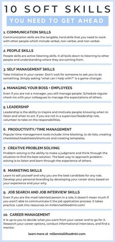 Career Advice: To get ahead in your career, you will need more than technical skills. Career advancement is all about developing soft skills. These are the 10 soft skills you need and how to develop them! Job Career, Career Planning, Career Advice, Career Ideas, Career Options, Job Interview Tips, Job Interview Questions, Job Interviews, How To Interview
