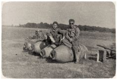 Sitting on 2000 lb. bombs - Warmwelll, England.