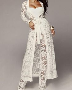 Lace Tie Waist Cardigan & Pants With Strapless Top Sets