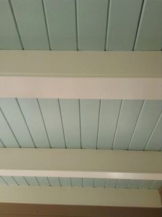 a little bolder with Benjamin Moore's Woodlawn Blue, as seen on this porch ceiling. Possible sunroom ceiling Blue Porch Ceiling, Blue Ceilings, Wood Ceilings, Ceiling Lights, Ceiling Color, Shiplap Ceiling, Exposed Basement Ceiling, Paint Ceiling, Kitchen Ceilings