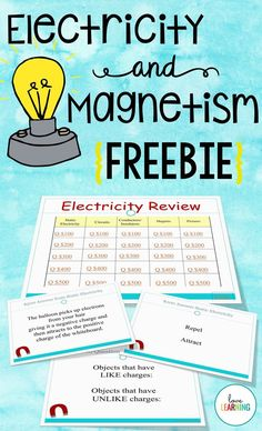 {FREEBIE} Electricity and Magnetism Review Game. My students absolutely love playing review games. This game is a great way to engage students while reviewing key concepts! The game covers the following information: → Static Electricity → Magnets and Electromagnets → Electric Circuits → Conductors and Insulators