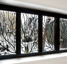 Custom metalwork grille for lower windows Sliding Glass Door, Sliding Doors, Glass Doors, Patio Windows, Windows And Doors, Door And Window Design, Chalkboard Art, Visual Merchandising, Milwaukee