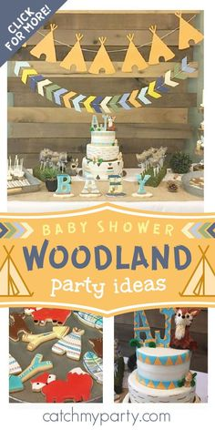 Check out this adorable woodland baby shower! The cake is gorgeous! See more party ideas and share yours at CatchMyParty.com #catchmyparty #partyideas #woodlandparty #woodland #woodlandanimlas #woodlandbabyshower #boybabyshower