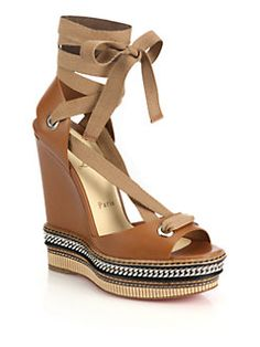 Christian Louboutin - Tribuli Chain-Detail Leather Wedge Sandals