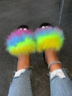 Cute Slides, Faux Fur Slides, Pink Snake, Plus Size Fashion For Women, Neon Yellow, Size Model, Black Sandals, Slip On, Womens Fashion