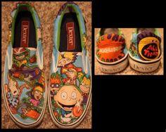 shoes cartoon nickelodeon rugrats hey arnold rocket power rocko's modern life slip on shoes Painted Sneakers, Painted Shoes, Cartoon Shoes, Rocko's Modern Life, Hey Arnold, Back In My Day, 90s Childhood, 90s Cartoons, Rugrats