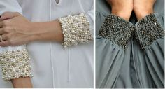 Cuffed sleeves with pearl beads. Spectacular decor of a simple blouse. You can also decorate the cuffs of not only blouses, but also the cuffs of a sweater, jacket or trench coat Embroidery On Clothes, Bead Embroidery Jewelry, Shirt Embroidery, Embroidery Fashion, Beaded Embroidery, Embroidery Designs, Sleeves Designs For Dresses, Sleeve Designs, Blouse Designs