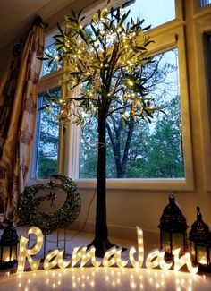 Muslim holiday tree for Ramadan and Eid. Lit Olive tree that you can adorn with lanterns, Moons and stars to add a festive glow to your home and bring joy to the family