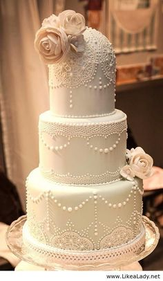 Vintage Wedding Cake with pearl embellishments