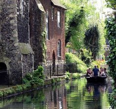 Punting on the river Stour at Canterbury, Kent, England.