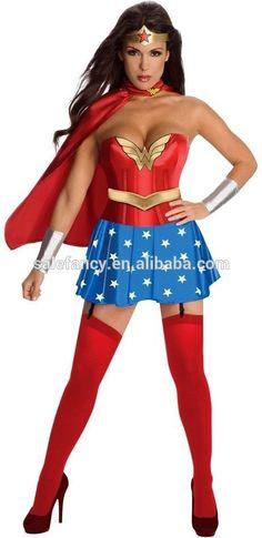 De Halloween mujer maravilla Superwoman traje para la muchacha QAWC-2447