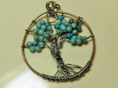 Tree of Life Turquoise pendant, Wire wrapped copper and silver, retro tree of life, Boho, Hipster, Hippie, Zen jewelry, GIngerslittlegems by GingersLittleGems on Etsy