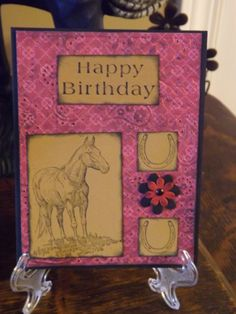 western birthday card using Stampin up horse stamps.  By: Traci Wood