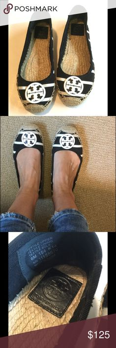 Tory Burch Striped Ballet Espadrilles, Size 6 The perfect ballet flat for summer!  Adorable black and white striped canvas Tory Burch Espadrilles with enameled white double T logo.  Super comfortable and look adorable with jeans, shorts, skirts and dresses.  Endless opportunities, the perfect casual shoe.   Excellent used condition, only wore a couple times.  No longer have shoe box.  Size 6. Tory Burch Shoes Espadrilles