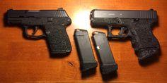 Stippling job by me. Glock 27 & Kel-Tec PF9.  & .40cal mags.