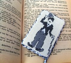 Gift for cinemaddict. Cross stitched gift for cinephile. by FamilyGiftsStore on Etsy Charlie Chaplin, Dns, Little Gifts, Anonymous, Bookmarks, Cross Stitch, Public, Miniatures, English