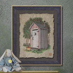 Nostalgic Apple Orchard Outhouse Art Whimsical by TwoBananasArt, $20.00