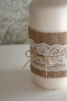 Wrap burlap & lace around soap dispenser