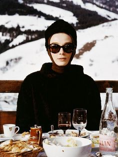 Audrey on the slopes in fur sweater and hood perfect