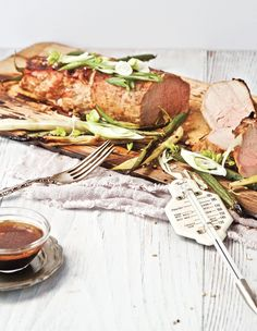 You'll find the plank-grilled asian-style pork tenderloin and sesame beans  recipe in our first magazine, page 42.