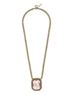 An oversized gemstone takes on a little edge with an effusion of curb chain links to toughen up delicate opal and pale pink hues.