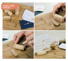 10 DIY Wedding Ideas – How-To Guides | Pinterest. Wine cork place card holders www.celebrationsbykat.com