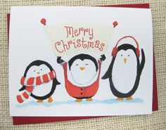 watercolor christmas penguin | Christmas Cards | Pinterest