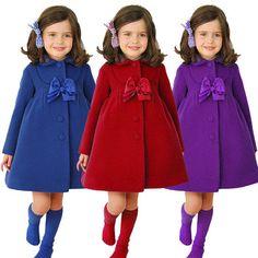 2016 invierno moda niños abrigos Baby Girls abrigos de invierno de manga larga con el arco de las muchachas calientes ropa de los niños chaquetas por 3-7 año
