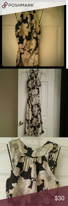 Silk cocktail dress High neck satin halter dress 100% silk with black and hold large print floral pattern. Classically sexy and fun to wear! White House Black Market Dresses Midi