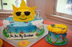 You Are My Sunshine birthday cake and smash cake! Sunshine Birthday Cakes, Sunshine Cake, 3rd Birthday, Birthday Ideas, You Are My Sunshine, Cake Smash, First Birthdays, Bridal Shower, Minions