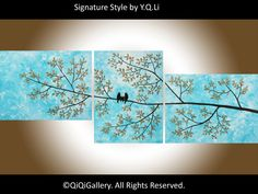 """66"""" Huge Art acrylic painting birds art  Abstrac landscape mothers day gift home decor wall art """"Happy Family"""" qiqigallery"""