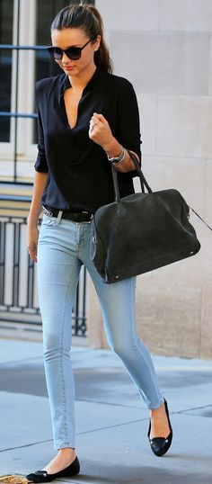 Jeans, blouse, flats (perfect combination for any woman)......Glasses, not a lot of jewelry, and a bag.