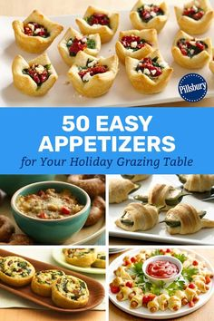 The 50 Easiest Christmas Appetizers From new twists like a pull-apart crescent Christmas tree to tried-and-true classics like baked brie, make this holiday season the easiest (and most delicious) one ever with these quick, crowd-pleasing apps. Finger Food Appetizers, Appetizers For Party, Appetizer Recipes, Easy Christmas Appetizers, Easy To Make Appetizers, Appetizer Dessert, Party Finger Foods, Christmas Party Food, Christmas Tree