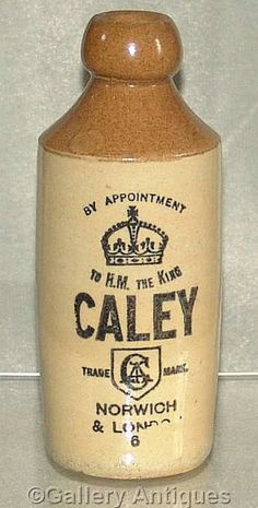 Edward VII antique Edwardian Caley Norwich & London Stoneware Ginger Beer Blob Top Bottle c.1900's (ref:4059 )