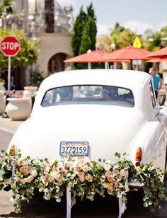 photo: True Photography; Gorgeous wedding getaway car idea