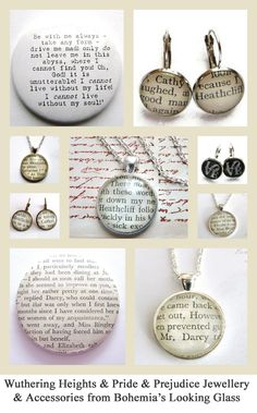 Wuthering Heights & Pride & Prejudice Recycled Book Jewellery & Accessories