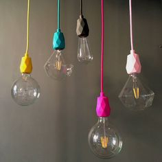 An effortlessly cool faceted silicone pendant fitting.BULBS: Dimmable LED Diamond Filament Bulb E27 3 Watt. 120mm in diameter. Dimmable LED Mega Edison Bulb E27 5 Watt. 125mm in diameter. 125mm Globe Mega Edison Filament Bulb E27 60WWe are so excited to introduce our new range of silicone pendant lights. Available in 9 super bright awesome colours. This comes with a faceted ceiling rose cover and lampholder with an E27 screw fitting and 3 meters of our lovely bright fabric covered cable all…